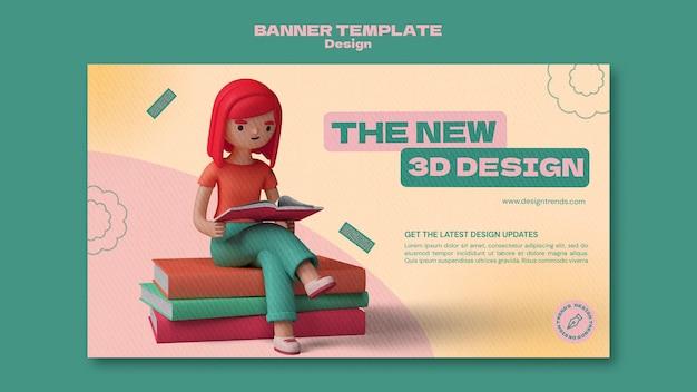 3d-ontwerpsjabloon horizontale banner