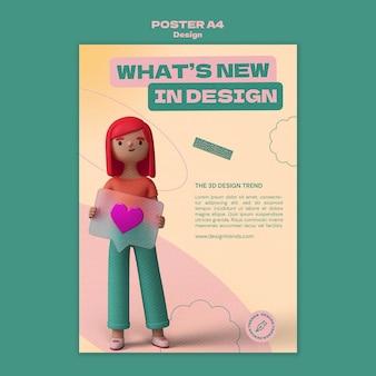 3d-ontwerpsjabloon poster