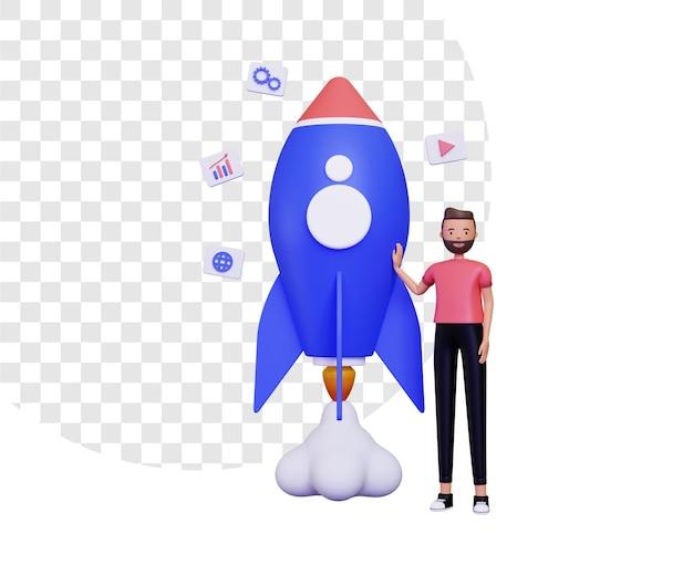 3d-opstartleven met een man die naast een raket staat