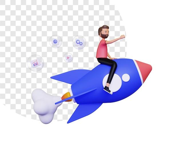 3d-opstartleven met een man die op een raket vliegt