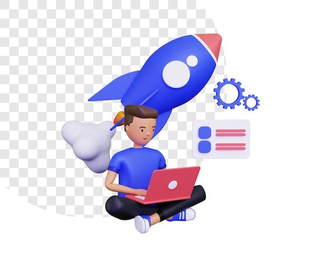 3d-opstartleven met een mannelijk personage met behulp van een laptop en een vliegende raket erachter