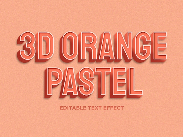 3d oranje pastelkleur teksteffect premium psd