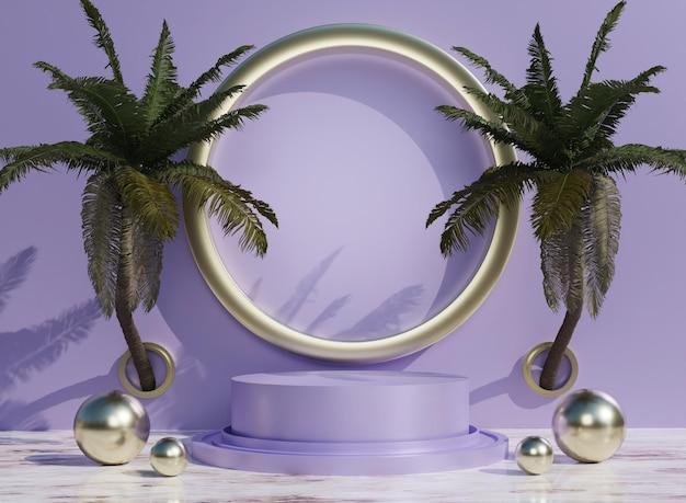 3d-paars podium met tropische bomen voor productplaatsing op de achtergrond en bewerkbare kleur