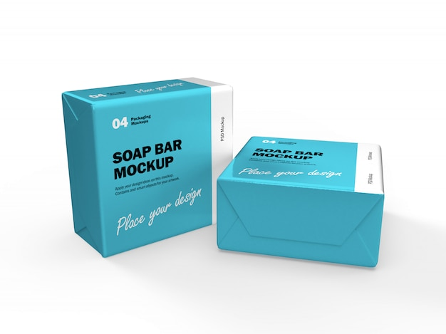 3d packaging design mockup of two square soap bar boxes