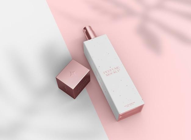 3d-parfum glazen fles mockup. hygiëne & gezondheidszorgconcept