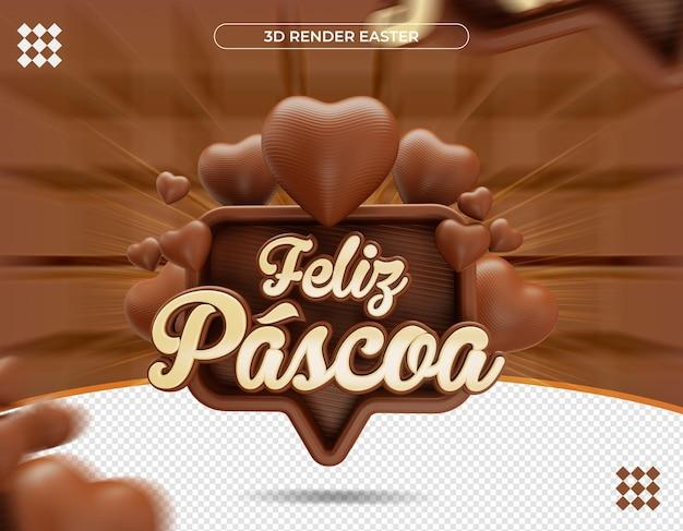 3d pasen-etiket in braziliaanse realistische weergave