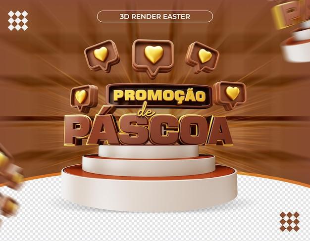 3d pasen-promotielabel in braziliaanse realistische weergave