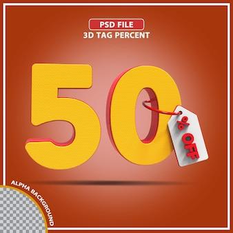3d-percentages 50 procent biedt creatief ontwerp