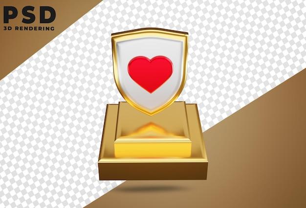 3d perisai logo liefde isoleren