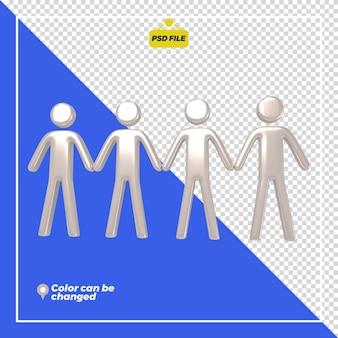 3d personas brillantes se conectan