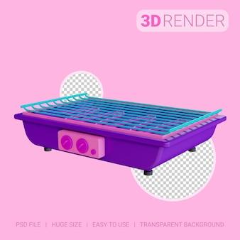 3d pictogram elektrische grill met transparante achtergrond
