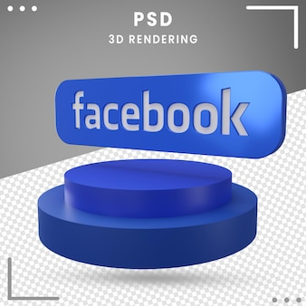 3d-pictogram gedraaid logo facebook 3d-rendering