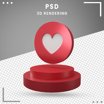 3d-pictogram gedraaid logo love facebook 3d-rendering