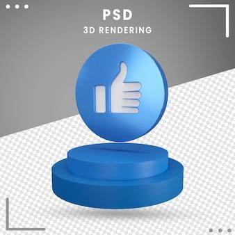 3d-pictogram gedraaid logo zoals facebook 3d-rendering