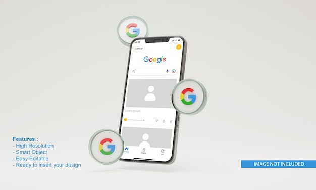 3d-pictogram google illustratie mobiele telefoon mockup