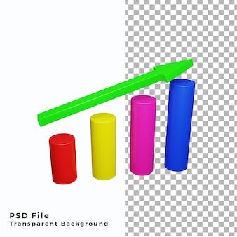 3d-pictogram groei grafische kaartentafel van hoge kwaliteit