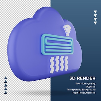 3d-pictogram internet wolk airconditioner teken weergave linker weergave