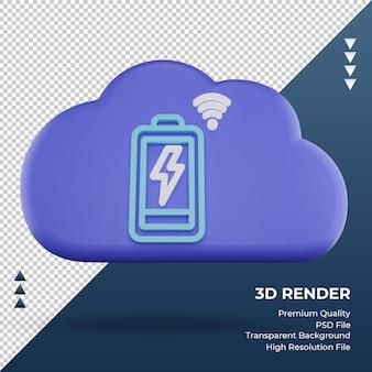 3d-pictogram internet wolk batterijstatus teken weergave vooraanzicht