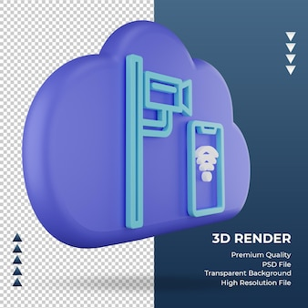 3d-pictogram internet wolk cctv teken weergave linker weergave