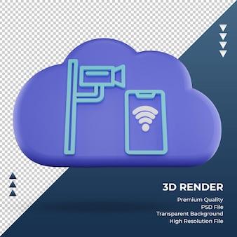 3d-pictogram internet wolk cctv teken weergave vooraanzicht