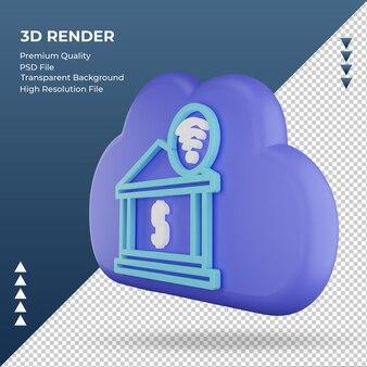 3d-pictogram internet wolk internetbankieren teken weergave juiste weergave