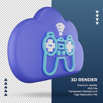 3d-pictogram internet wolk joystick teken weergave linker weergave