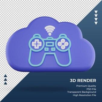 3d-pictogram internet wolk joystick teken weergave vooraanzicht