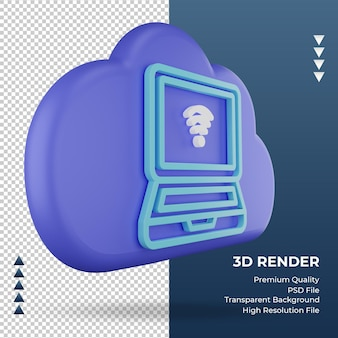 3d-pictogram internet wolk laptop teken weergave linker weergave
