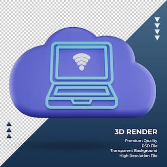 3d-pictogram internet wolk laptop teken weergave vooraanzicht