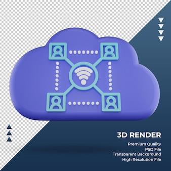 3d-pictogram internet wolk netwerk teken weergave vooraanzicht
