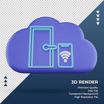 3d-pictogram internet wolk slimme deur teken weergave vooraanzicht
