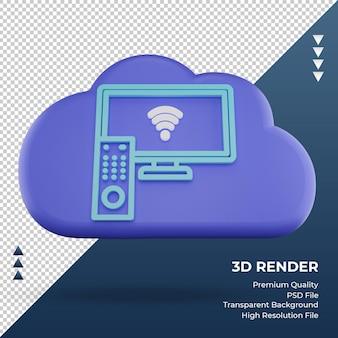 3d-pictogram internet wolk smart tv teken rendering vooraanzicht