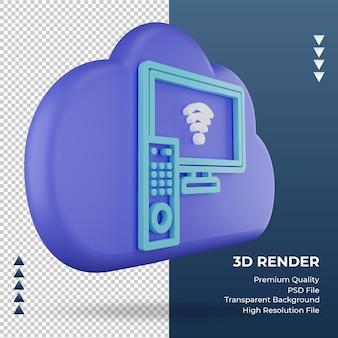 3d-pictogram internet wolk smart tv teken weergave linker weergave