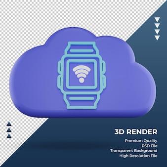 3d-pictogram internet wolk smartwatch teken rendering vooraanzicht