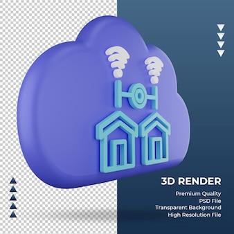 3d-pictogram internet wolk thuisnetwerk teken weergave linker weergave