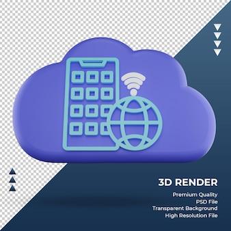 3d-pictogram internet wolk toepassing teken weergave vooraanzicht