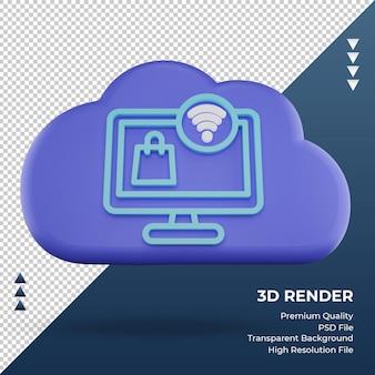 3d-pictogram internet wolk winkelen online teken rendering vooraanzicht
