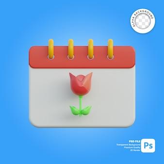 3d-pictogram kalender seizoen lente