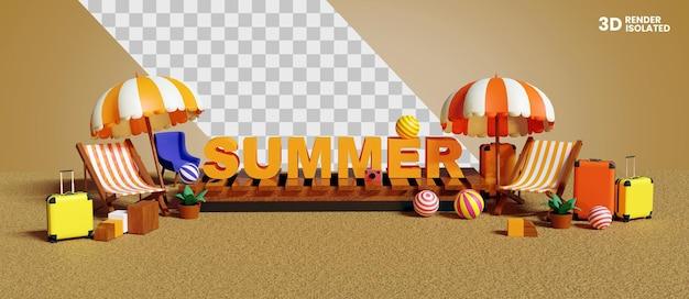 3d-pictogram voor geïsoleerde zomer