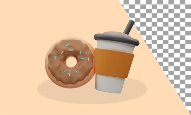3d-pictogram voor koffie en donut psd Premium Psd