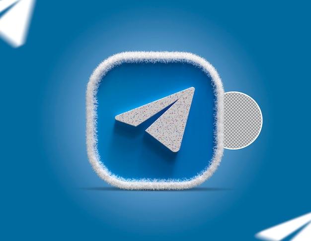 3d-pictogram voor sociale media-telegram