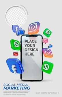 3d-pictogrammen voor sociale media met mockup voor mobiel scherm