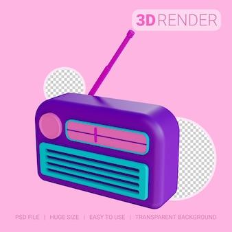 3d-pictogramradio met transparante achtergrond
