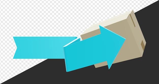 3d-pijl met karton geïsoleerd