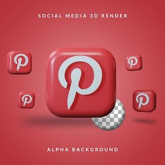 3d pinterest-toepassingslogo met alpha-achtergrond