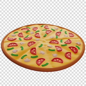 3d pizza met paddestoelen pizzabezorger geïsoleerde illustratie 3d-rendering