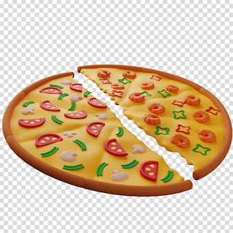 3d-pizza van twee helften met verschillende smaken met champignons en garnalen 3d-rendering