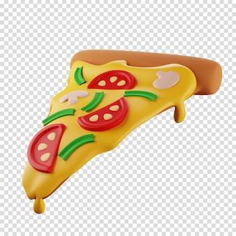 3d plak van pizza met geïsoleerde illustratie van de paddestoelenpizzabezorger 3d-rendering