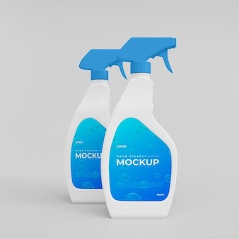 3d plastic handwas spray flessen mockup