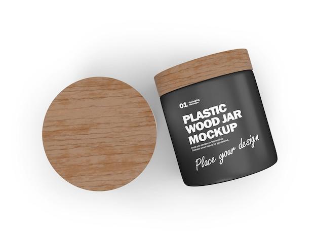 3d plastic potten met houten deksels cosmetisch product psd mockup